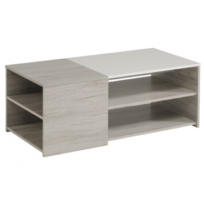 Konferenční stolek Clif - dub šedý/bílý lesk