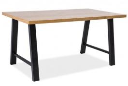 Jídelní stůl ABRAMO dub masiv/černý kov 90x180