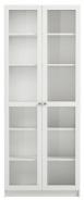 Vysoká skříň Aneta IV s prosklenými dvířky - bílá