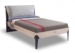Studentská postel 120x200cm s polštářem Lincoln - dub/tmavě modrá