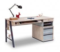 Velký studentský stůl Lincoln - dub/dub modrý/tmavě modrá