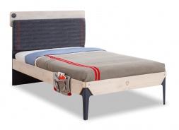 Studentská postel 120x200cm s poličkou Lincoln - dub/tmavě modrá
