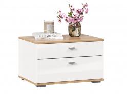 Noční stolek Markus - bílý lesk/dub zlatý