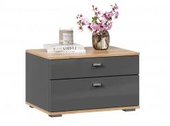 Noční stolek Markus - šedý lesk/dub zlatý