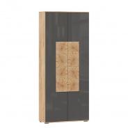 Předsíňová skříň Markus 2D - šedý lesk/dub zlatý