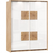 Šatní skříň s posuvnými dveřmi Markus - bílý lesk/dub zlatý