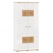 Skříň 2-dveřová Markus - bílý lesk/dub zlatý