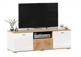 TV stolek Markus 140 - bílý lesk/dub zlatý