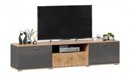 TV stolek Markus 200 -  šedý lesk/dub zlatý