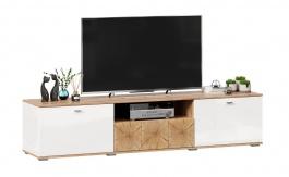 TV stolek Markus 200 - bílý lesk/dub zlatý