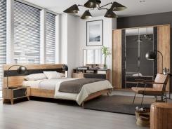 Moderní ložnice Melody I - dub zlatý/černý mramor