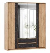 Čtyřdveřová šatní skříň se zrcadly Melody - dub zlatý/černý mramor