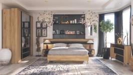 Moderní ložnice Melody II - dub zlatý/černý mramor