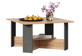 Konferenční stolek Markus - šedý lesk/dub zlatý
