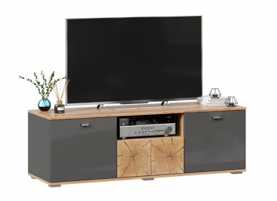 TV stolek Markus 140 - šedý lesk/dub zlatý