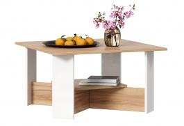 Konferenční stolek Markus - bílý lesk/dub zlatý