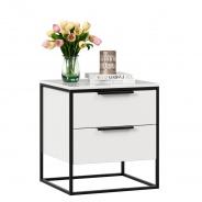 Noční stolek Caroline - bílá/černá