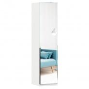Jednodveřová skříň se zrcadlem Caroline - bílá