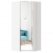 Rohová skříň se zrcadlem Caroline - bílá