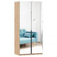 Šatní skříň se zrcadlem Caroline 2D - dub zlatý/černá