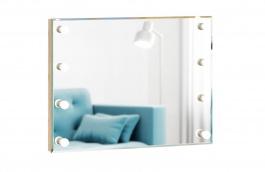 Zrcadlo s osvětlením Caroline - rám dub zlatý