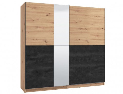 Skříň s posuvnými dveřmi a zrcadlem Ticiano 220 - dub artisan/černá