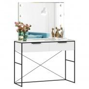 Toaletní stolek se zrcadlem Caroline - bílá/černá