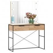 Toaletní stolek se zrcadlem Caroline - dub zlatý/černá