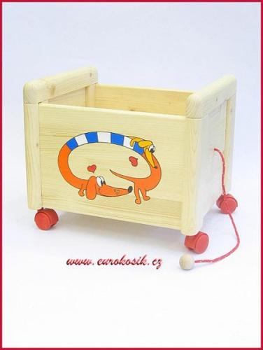 Dřevěný box na hračky Box na hračky Jezevčík oranžový