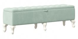 Čalouněný taburet s úložným prostorem Margaret - mintová/alabastr