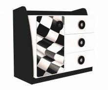 Dětská komoda Racer - bílá/černá