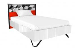 Dětská postel Racer 120x200cm - bílá/červená/rock