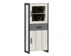 Nízká skříňka Robin - dub craft bílý/šedá/černá