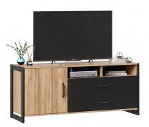 Televizní komoda Robin - dub zlatý/černá