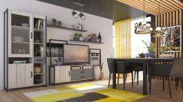 Obývací sestava Robin - dub craft bílý/černá