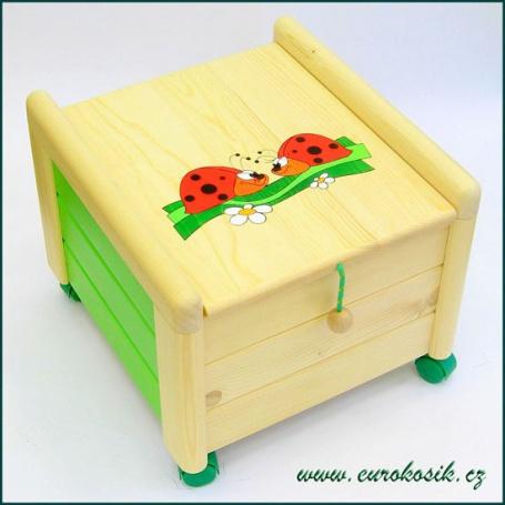 Dřevěný box na hračky s víkem Berušky