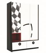 Kombinovaná šatní skříň Racer - bílá/černá/červená