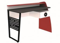 Psací stůl Racer - červená/bílá/rock