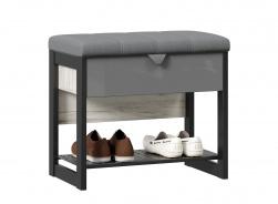 Lavice s úložným prostorem Robin - dub craft bílý/šedá/černá