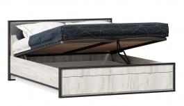Postel s úložným prostorem 160x200cm Robin - dub craft bílý/šedá/černá