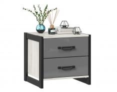 Noční stolek Robin - dub craft bílý/šedá/černá
