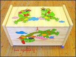 Dřevěná truhla na hračky Dráčci