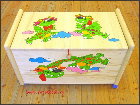 Dřevěný truhla na hračky Dráčci