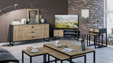 Obývací set II Trevor - dub wotan/šedá