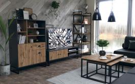 Obývací set III Trevor - dub wotan/šedá