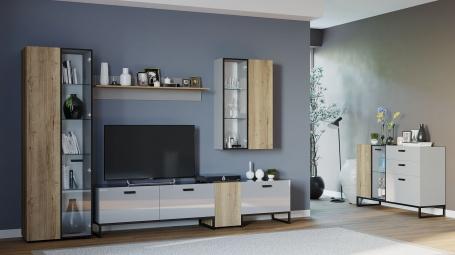 Obývací pokoj Osvald - dub halifax/šedá