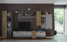 Obývací stěna I Osvald - dub halifax/šedá
