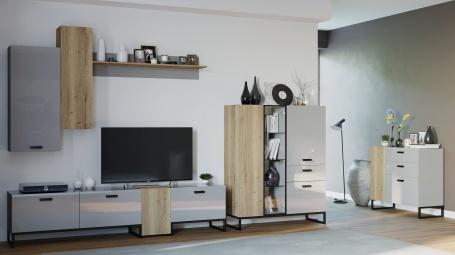 Obývací set Osvald - dub halifax/šedá