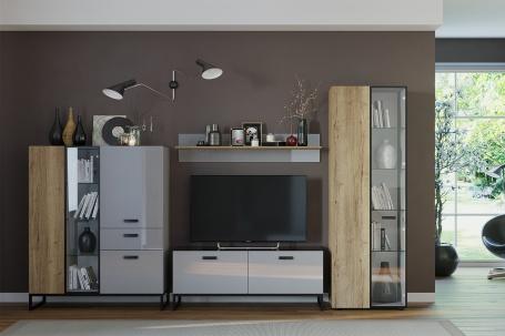 Obývací stěna II Osvald - dub halifax/šedá