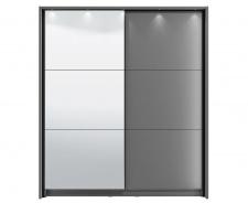 Posuvná skříň se zrcadlem a rámem s osvětlením Catalina 180 - šedá